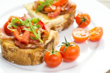 Bruschetta Grilled Bread, Prosciutto, Rucola And Cherry Tomatoes