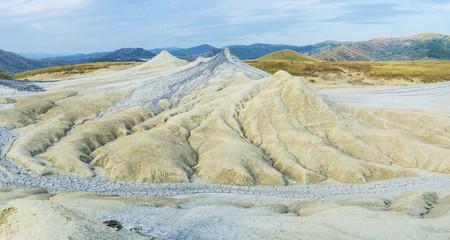 Panorama of mud volcanoes area in Romania