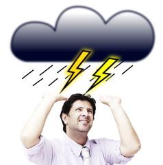 Man under the storm