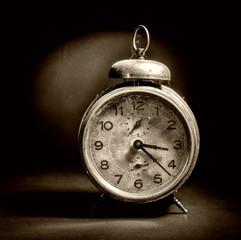 Vintage Alarm Clock on black
