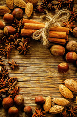 cinnamon with nuts, cinnamon and star anise
