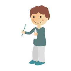 Niño que se va a lavar los dientes fondo blanco