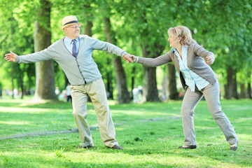 Mature couple having fun in a park