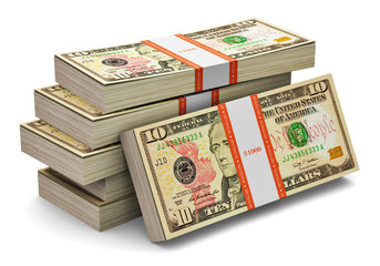 Stacks of 10 dollars banknotes