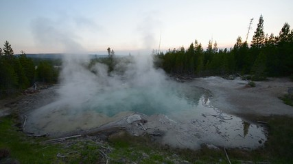 Emerald Spring Norris Geyser after sunset Yellowstone National P