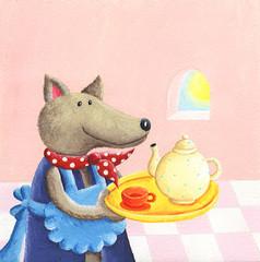 Cute wolf serving tea