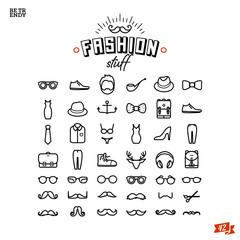 Fashion line icon set