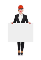 Woman engineer holding poster
