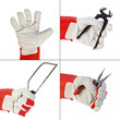 Set of images with a hand wearing protection glove holding tools