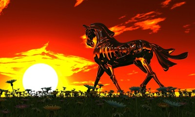 Metal horse in meadow