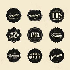 Vintage retro premium quality and guarantee label set