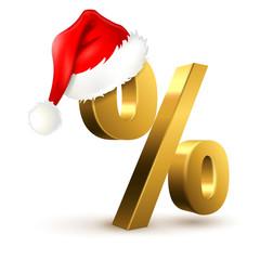 Prozentzeichen mit Nikolaus-Mütze - Gold