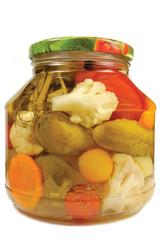 Pickled canned vegetables homemade assortmen, isolated glass jar