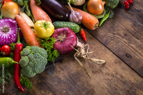 canvas print picture vegetables on wooden table