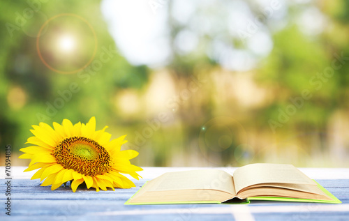 Foto Spatwand Zonnebloemen Open book with sunflower on table outdoors