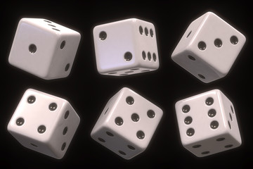 Dice six sides. Clipping path included.