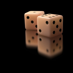 Two dices. Clipping path included.