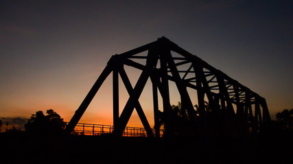 Sunset at the railway bridge. HD
