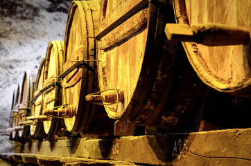 Details of very old wine barrels