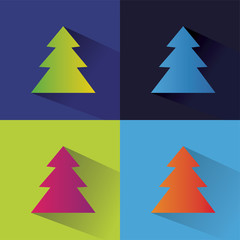 Abstract vector new year tree logotype isolated on colored