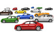 Multi-Colored Cars All Facing Left Direction - 70596620