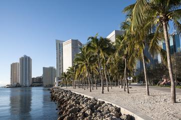 Waterfront promenade in Miami, Florida, USA