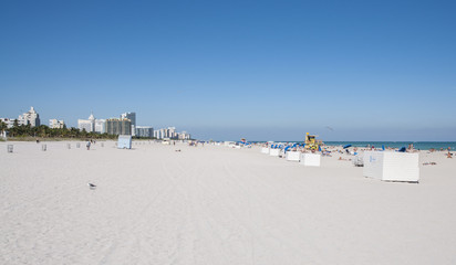 People relaxing at the South Beach in Miami, Florida, USA