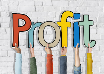 Group of People's Hands Holding Word Profit