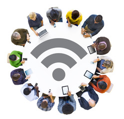 Multiethnic People with Wifi Technology Concepts