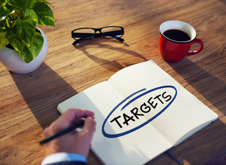"""Businessman Writing the Word """"Targets"""""""