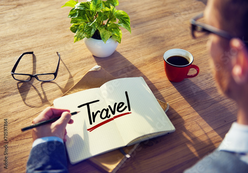 canvas print picture Man with a Note and a Single Word Travel
