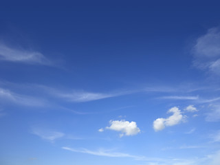The beautiful sky with white clouds.