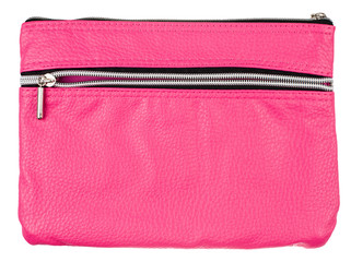 pink pencil case isolated on white background