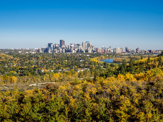 Bow river valley in Calgary, Alberta during autumn.