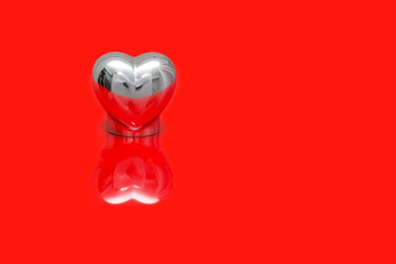 single heart on reflective red floor
