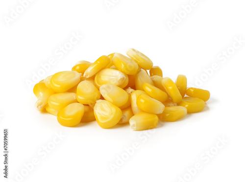 Fotobehang Granen Sweet whole kernel corn on white background