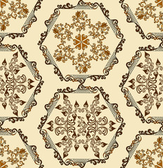 ornament in mixed media arabesque and Moresco on a light beige