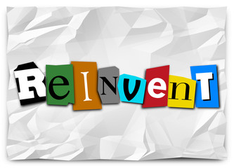 Reinvent Word Cut Out Letters Redo Refresh Rethink