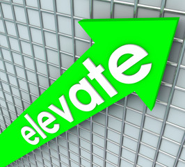 Elevate Word Green Arrow Rising Uplifting Higher Improvement