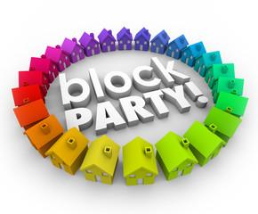 Block Party Houses Neighborhood Community Celebration Event