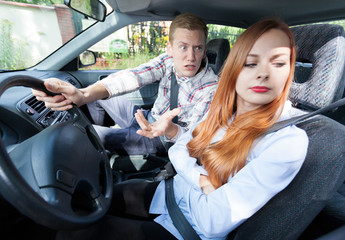 Couple with problems in a car