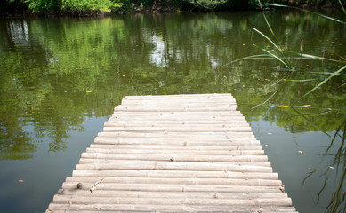 bamboo bridge in pond
