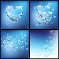мыльные пузыри в форме сердца на темном фоне