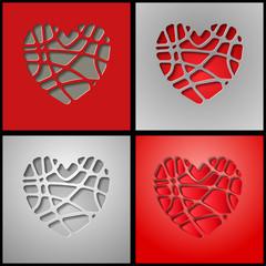 бумажные кусочки сердец на темном фоне