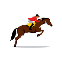 Horse at jumping vector sign