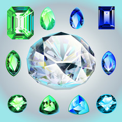 Diamonds and emeralds of different shapes and cut