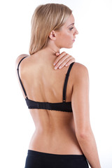 Back of woman in black lingerie