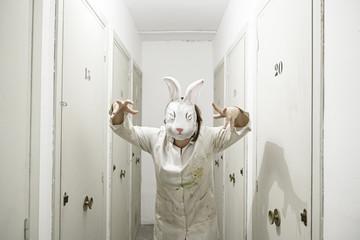 Masked woman rabbit