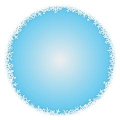 Schneeflocken-umrahmter Hintergrund, rund, Vektor, eisblau