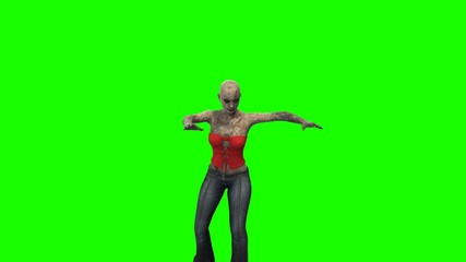 walking dead zombie girl walks at cam green screen